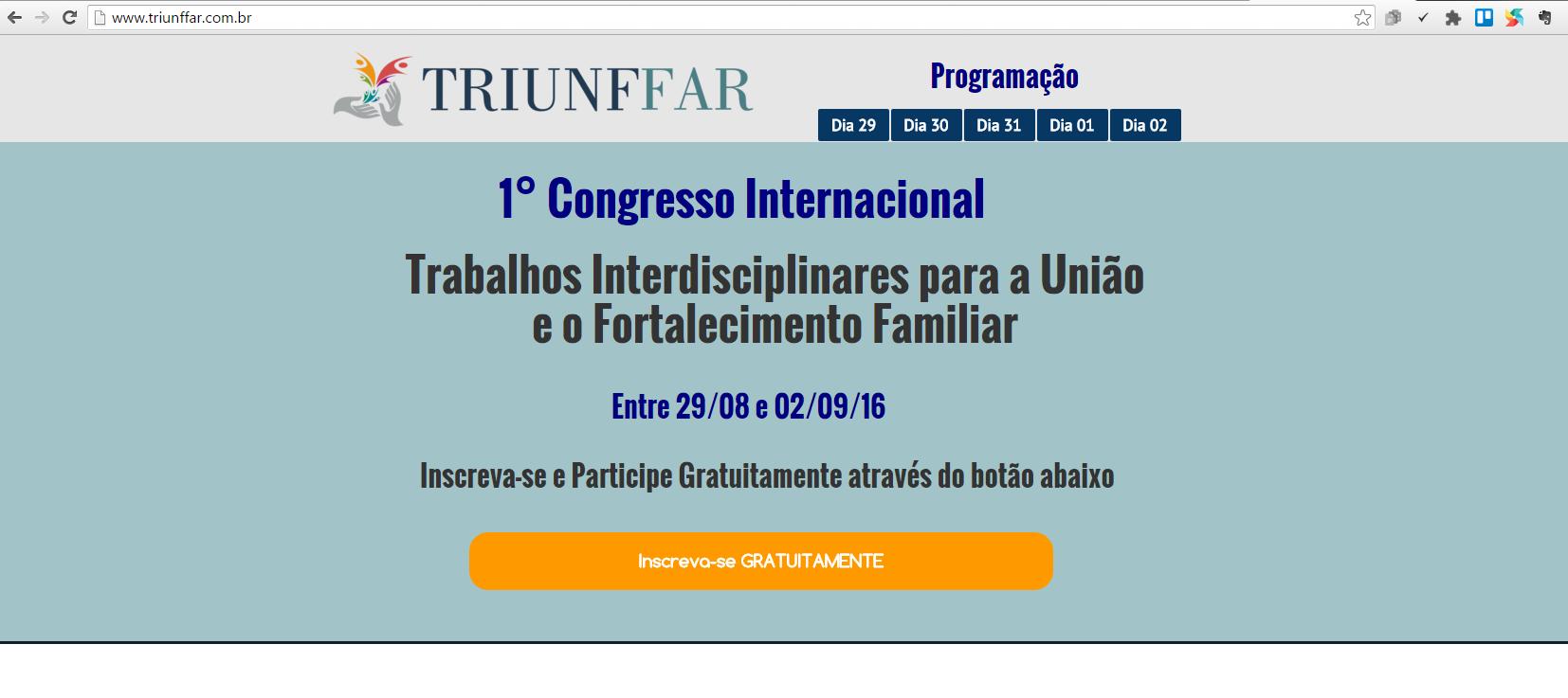 TRIUNFFAR - I congresso online gratuito de Trabalhos Interdisciplinares para a União e Fortalecimento Familiar