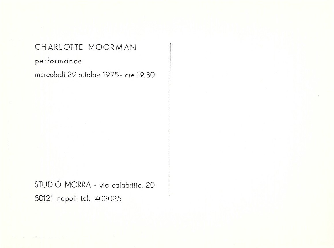 Charlotte Moorman Performance at Studio Morra Exhibition Card thumbnail 2