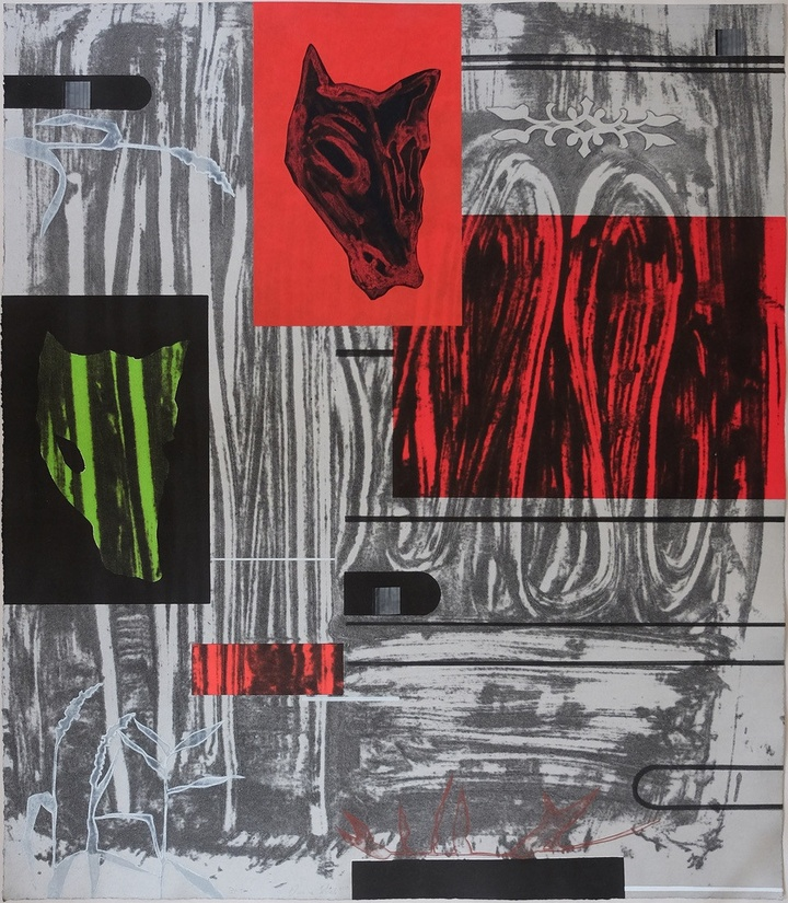 Collagraph print featuring a bright red rectangle with a black coyote portrait screentprinted on an Okwawara frame, with another coyote portrait appearing with a radioactive green glow, against a grey, patterned background.
