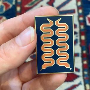 Mirror Snake Enamel Pin