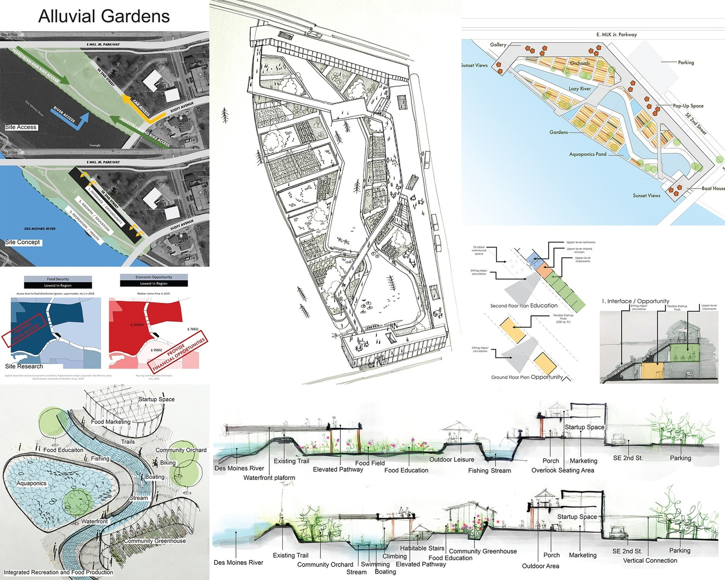 Proposal board for Alluvial Gardens, showing six different site plans.