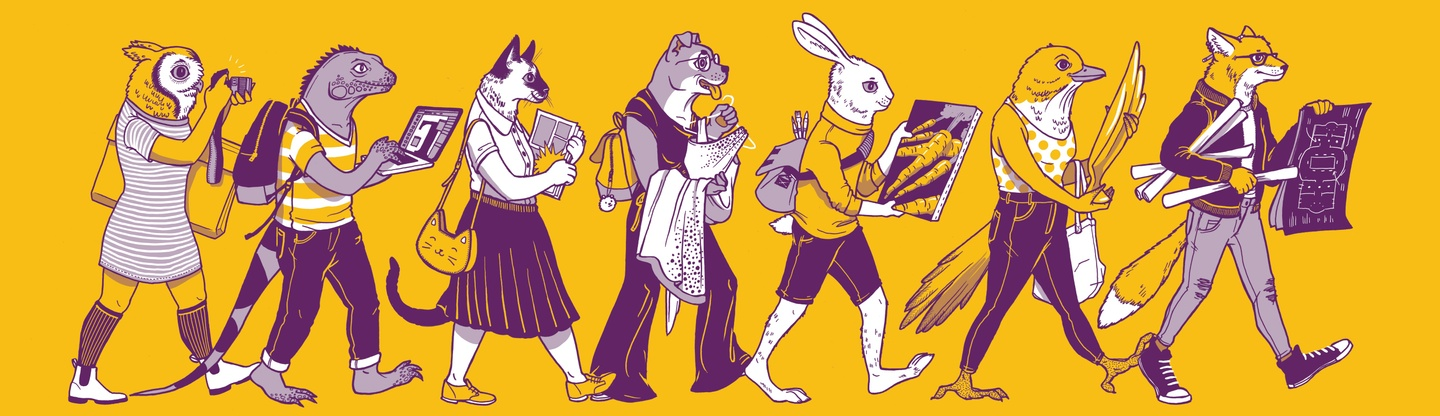 Illustrated banner of animals carrying artworks they've made to a portfolio review day.