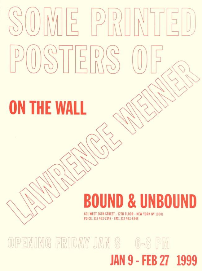 Some Printed Posters of Lawrence Weiner (Unfolded)