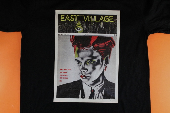 """East Village Eye May 1979 Issue #1 """"James White"""" Black T-shirt"""