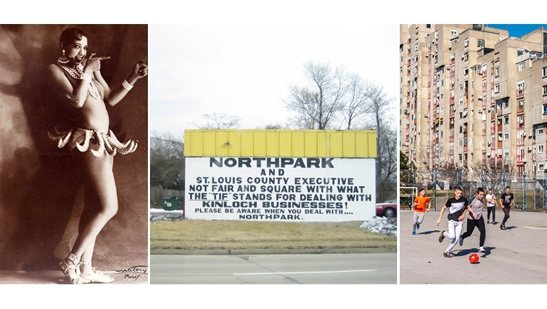 """Three-panel image: (left) a sepia-toned photograph of a smiling dancer in a leotard; (middle) a white billboard-like sign on the ground with a yellow top; in black type, it says """"Nortpark and St. Louis County Executive Not Fair and Square With What the """"TIF"""" Stands for Dealing with Kinloch Businesses! Please Be Aware When You Deal With...Northpark"""" and (right) Several kids playing soccer on the blacktop, with multilevel concrete buildings in the background."""