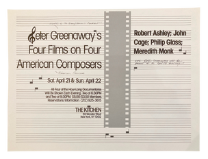 Four Films on Four American Composers, April 21 & 22, 1984 [The Kitchen Posters]