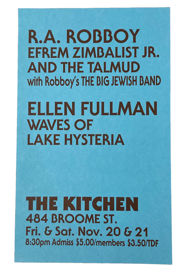 Efrem Zimbalist Jr. and the Talmud, Waves of Lake Hysteria, November 20 & 21, 1981 [The Kitchen Posters]