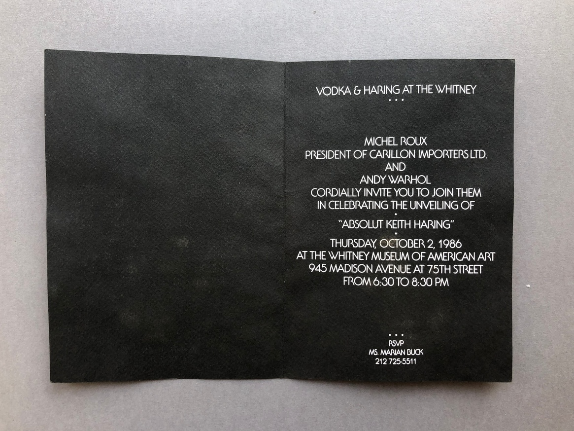 Absolut Keith Haring [invitation card to unveiling at Whitney Museum] thumbnail 2