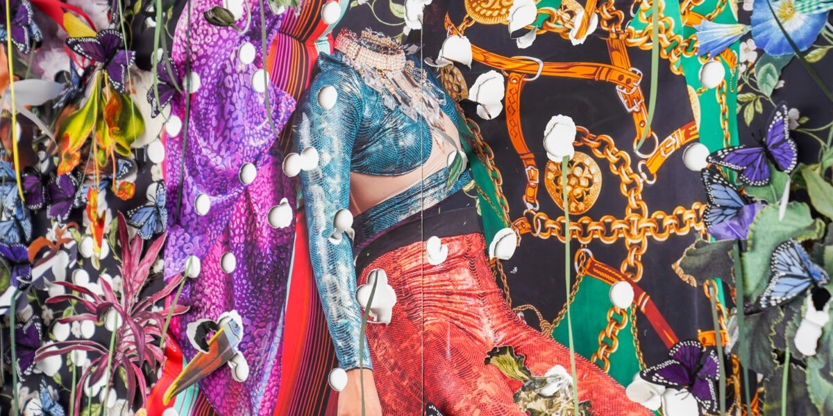 Detail from a brightly colored five-panel paper collage that includes flowers, butterflies, chains, belts, fabric, and a headless body dressed in a blue and red outfit.