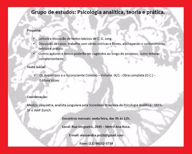 GRUPO DE ESTUDOS - PSICOLOGIA ANALÍTICA TEORIA E PRÁTICA