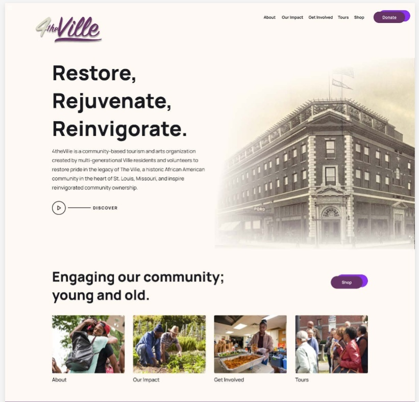"""Screenshot of a mockup of a website titled """"Restore, Rejuvenate, Reinvigorate"""""""
