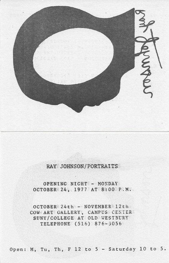 Ray Johnson Portraits [Exhibition Card]