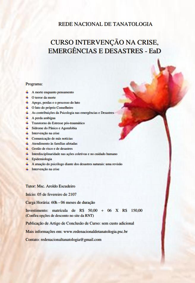 Curso Intervenção na Crise, Emergências e Desastres EaD
