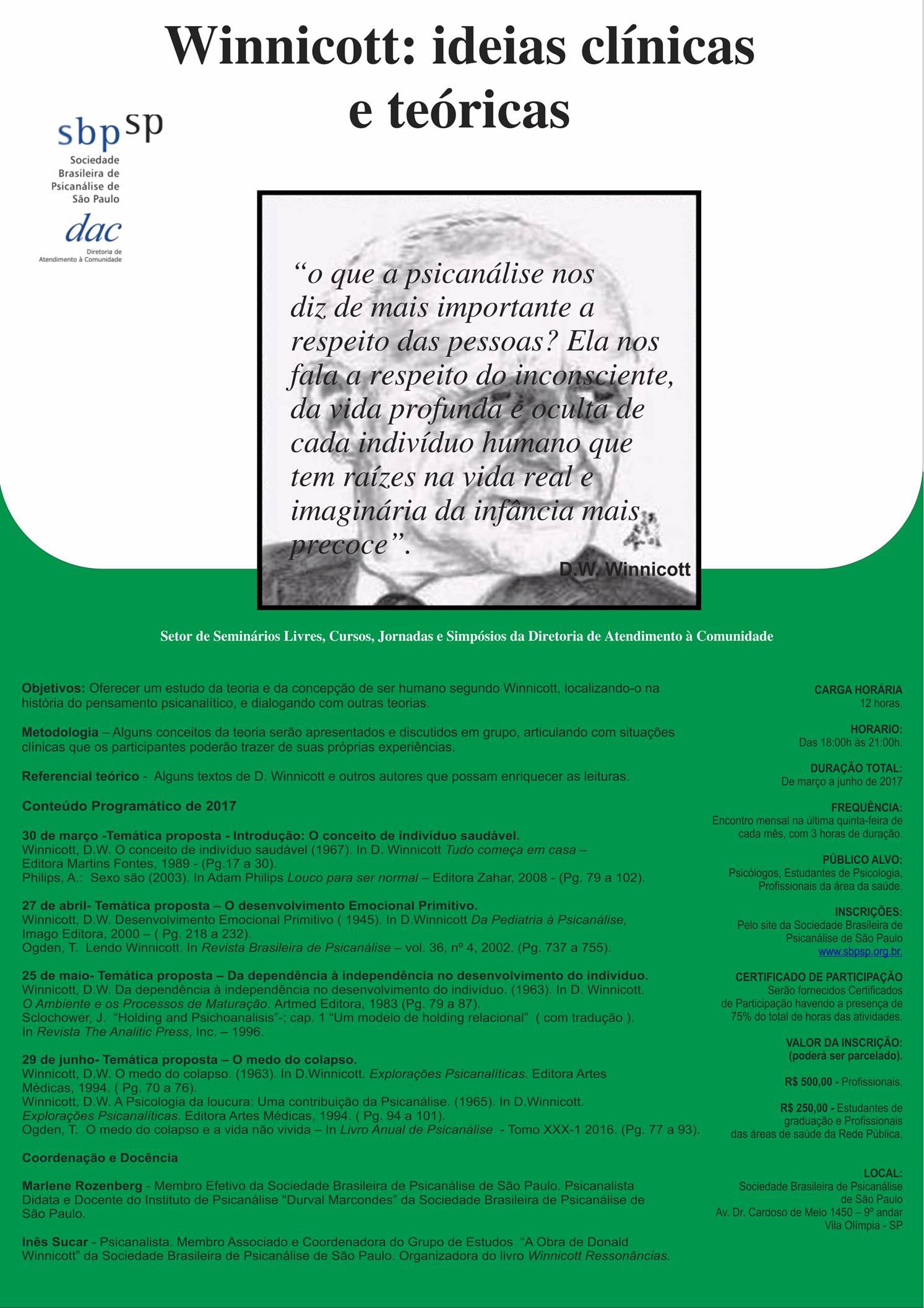 Curso Winnicott: ideias clínicas e teóricas