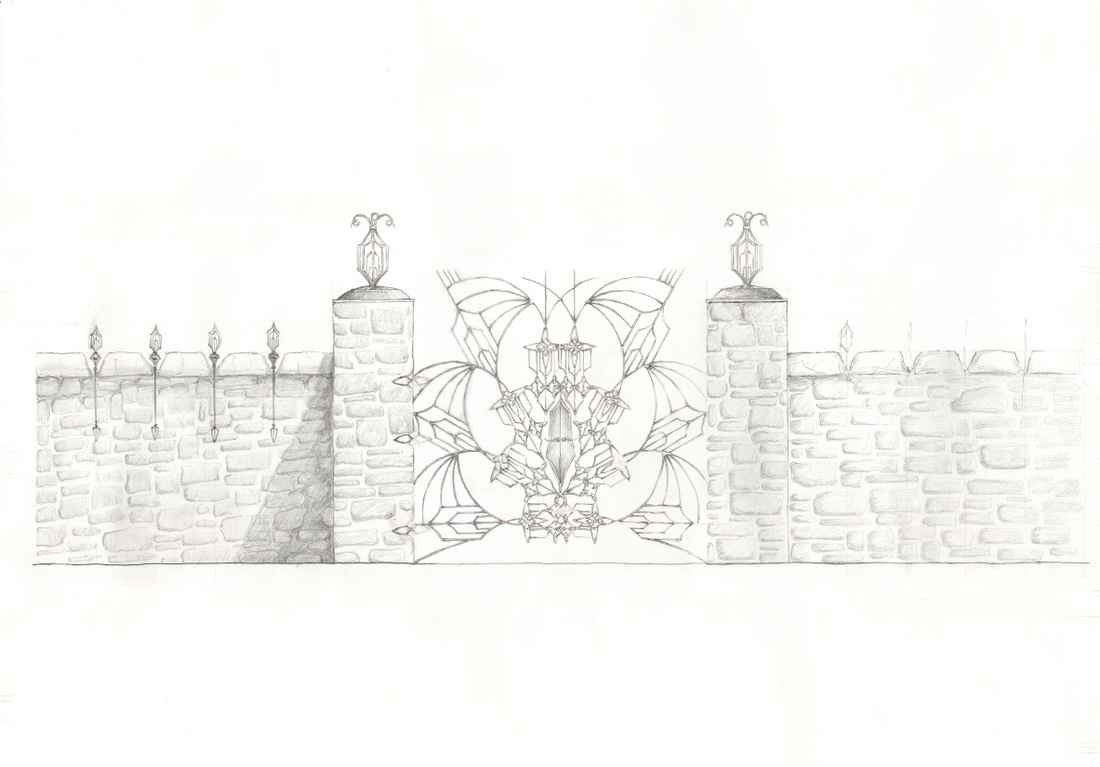 Drawing of gate ornament.