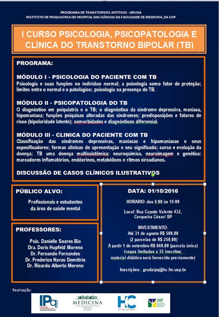 I CURSO PSICOLOGIA, PSICOPATOLOGIA E CLÍNICA DO TRANSTORNO BIPOLAR