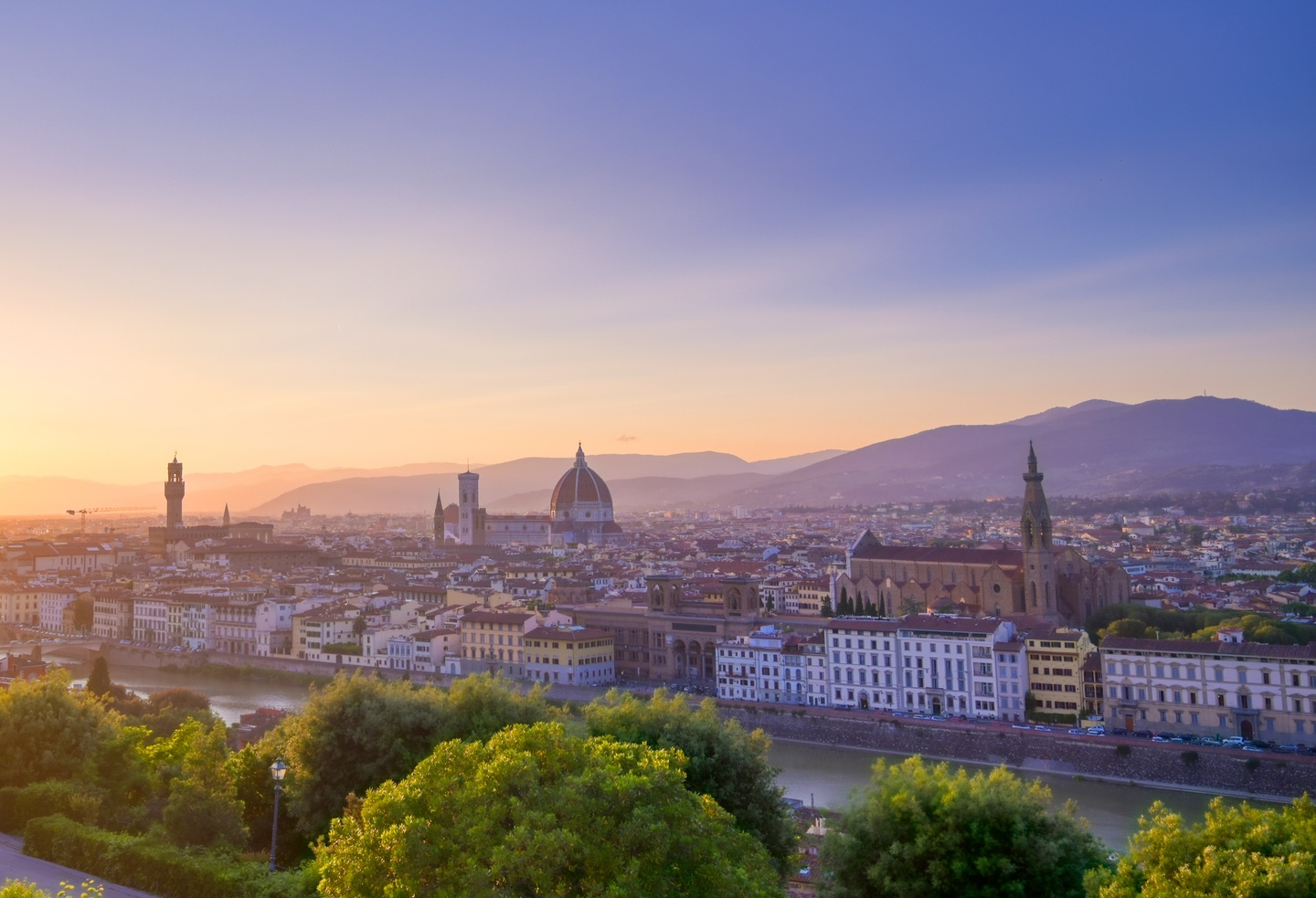 Looking down on Florence, Italy at sunrise.
