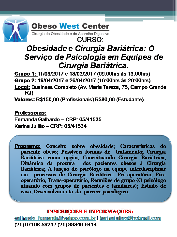 Curso: OBESIDADE E CIRURGIA BARIÁTRICA: O SERVIÇO DE PSICOLOGIA EM EQUIPES DE CIRURGIA BARIÁTRICA