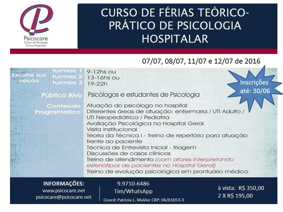 Curso de Férias Teórico Prático de Psicologia Hospitalar
