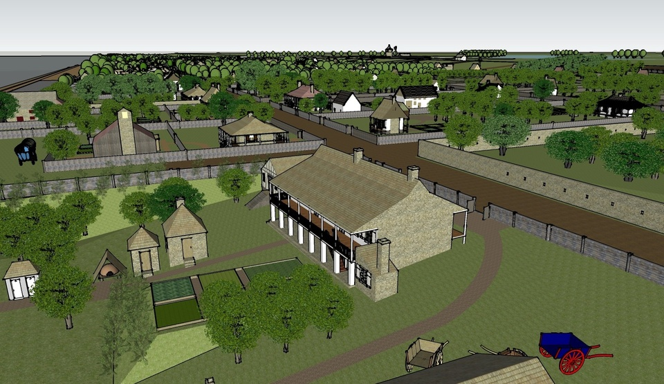 Sketchup render of a late 18th century St. Louis with an old farm building, farming plots, wheelbarrows