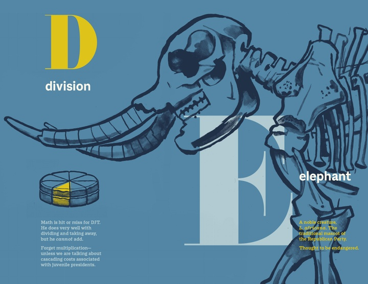 Book page for the letters D-Division and E-Elephant, featuring text blocks as well as illustrations of a Trivial Pusuit pie with a yellow wedge colored in and of an elephant skeleton.