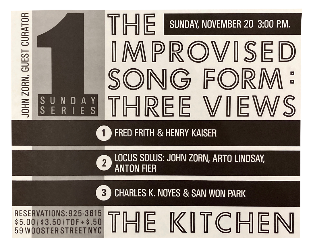 The Improvised Song Form: Three Views, November 20, 1985 [The Kitchen Posters]