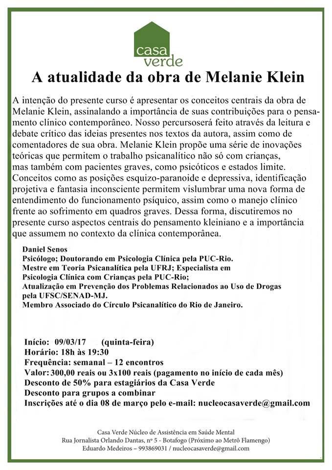 A atualidade da obra de Melanie Klein