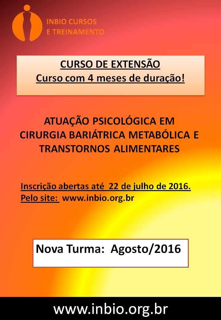 Curso de extensão: atuação psicológica em cirurgia bariátrica, metabólica e transtornos alimentares