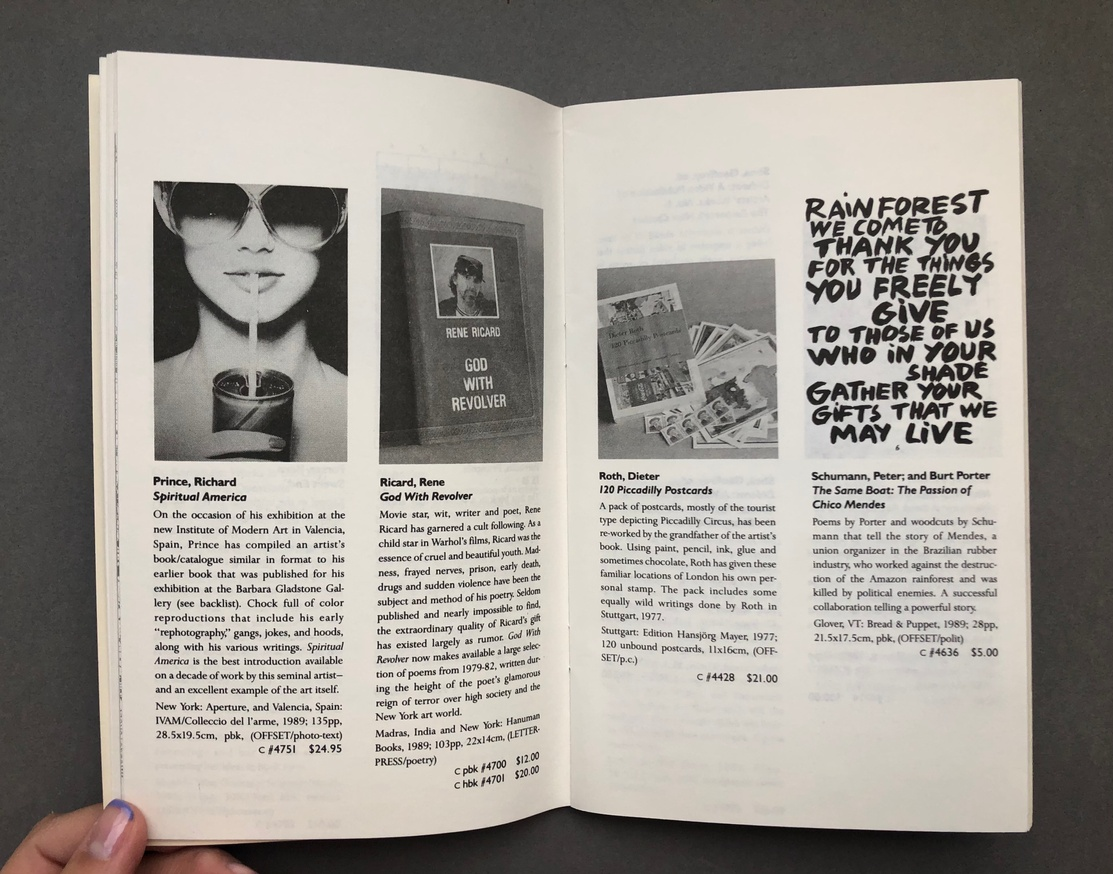 Printed Matter 1990 Spring Catalog thumbnail 6