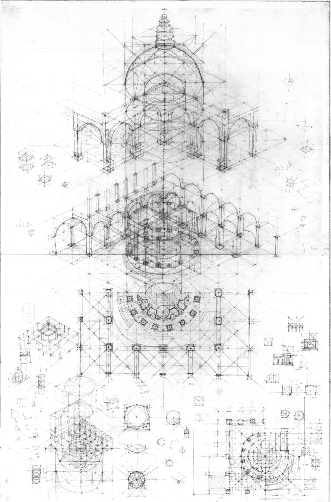 Synthetic drawing of works by Bramante