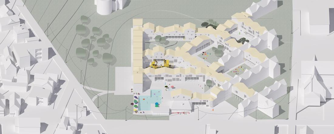 Aerial view of housing prototype