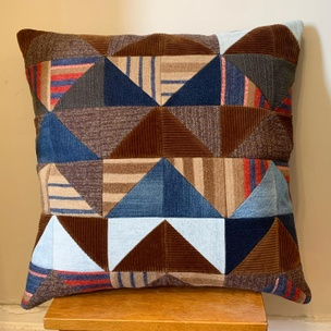 Quilted Patchwork Pillow (Brown Corduroy)