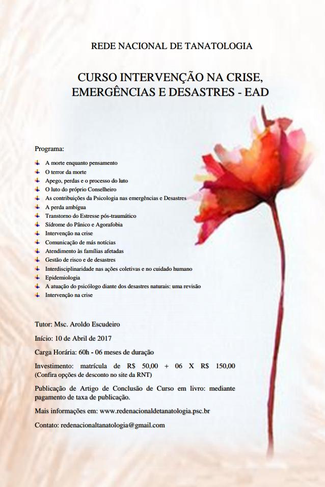 Curso: Intervenções na Crise, Emergências e Desastres EAD