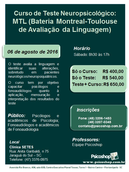 Curso de Teste Neuropsicológico: MTL (Bateria Montreal-Toulouse de Avaliação da Linguagem)