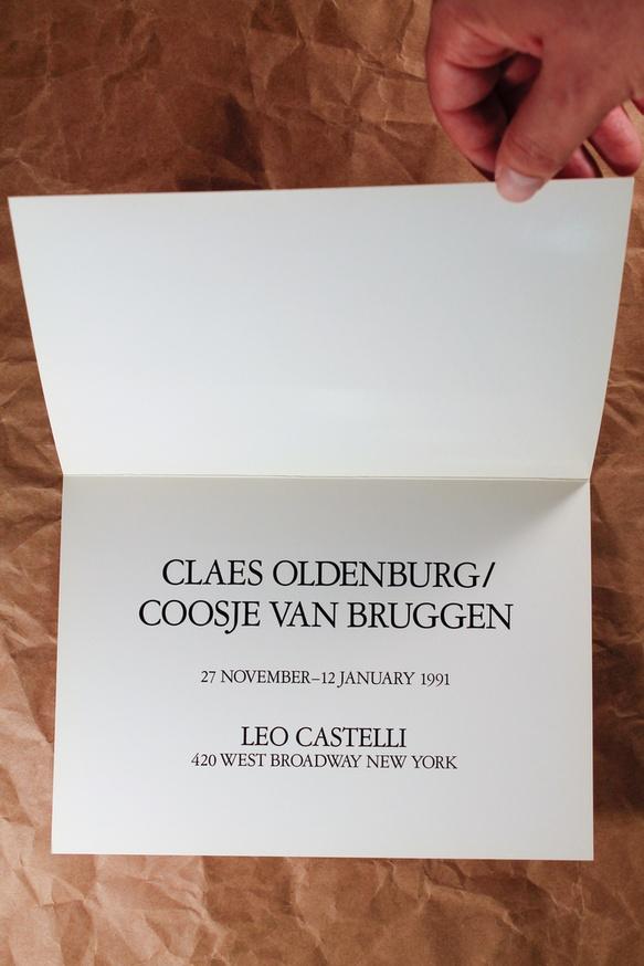 Announcement card for van Bruggen/Oldenburg at Castelli, 1991 thumbnail 2