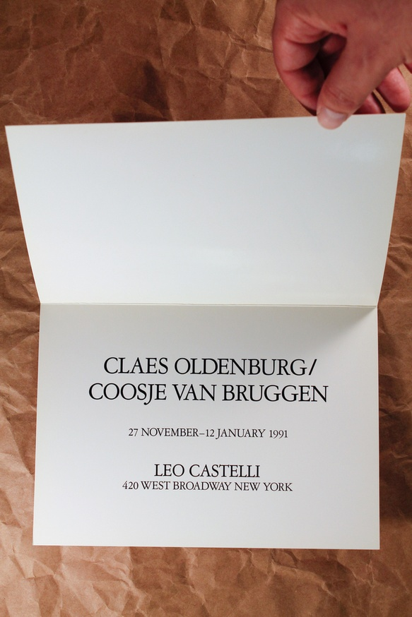 Announcement card for van Bruggen/Oldenburg at Castelli, 1991 thumbnail 2