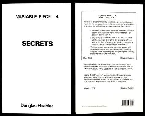New Publication: Douglas Huebler - Variable Piece 4: Secrets