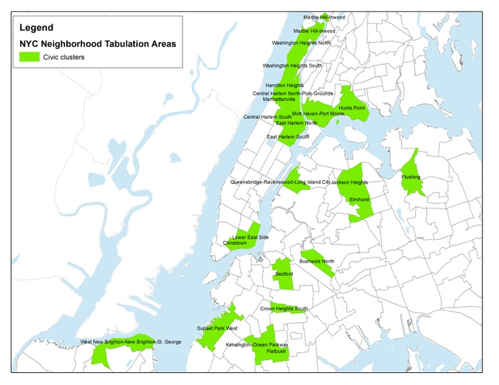 FIG. 3: Cultural cluster neighborhoods, New York City, 2014–2016. Map courtesy of Social Impact of the Arts Project.