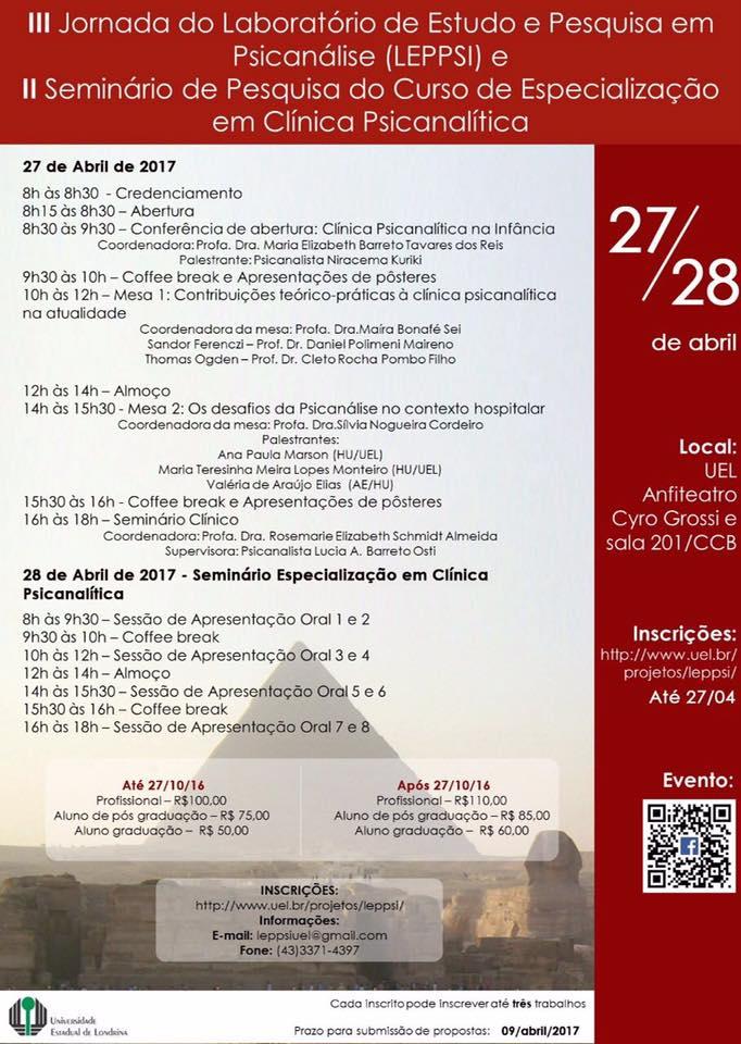 III Jornada do Laboratório de Estudo e Pesquisas em Psicanálise - LEPPSI