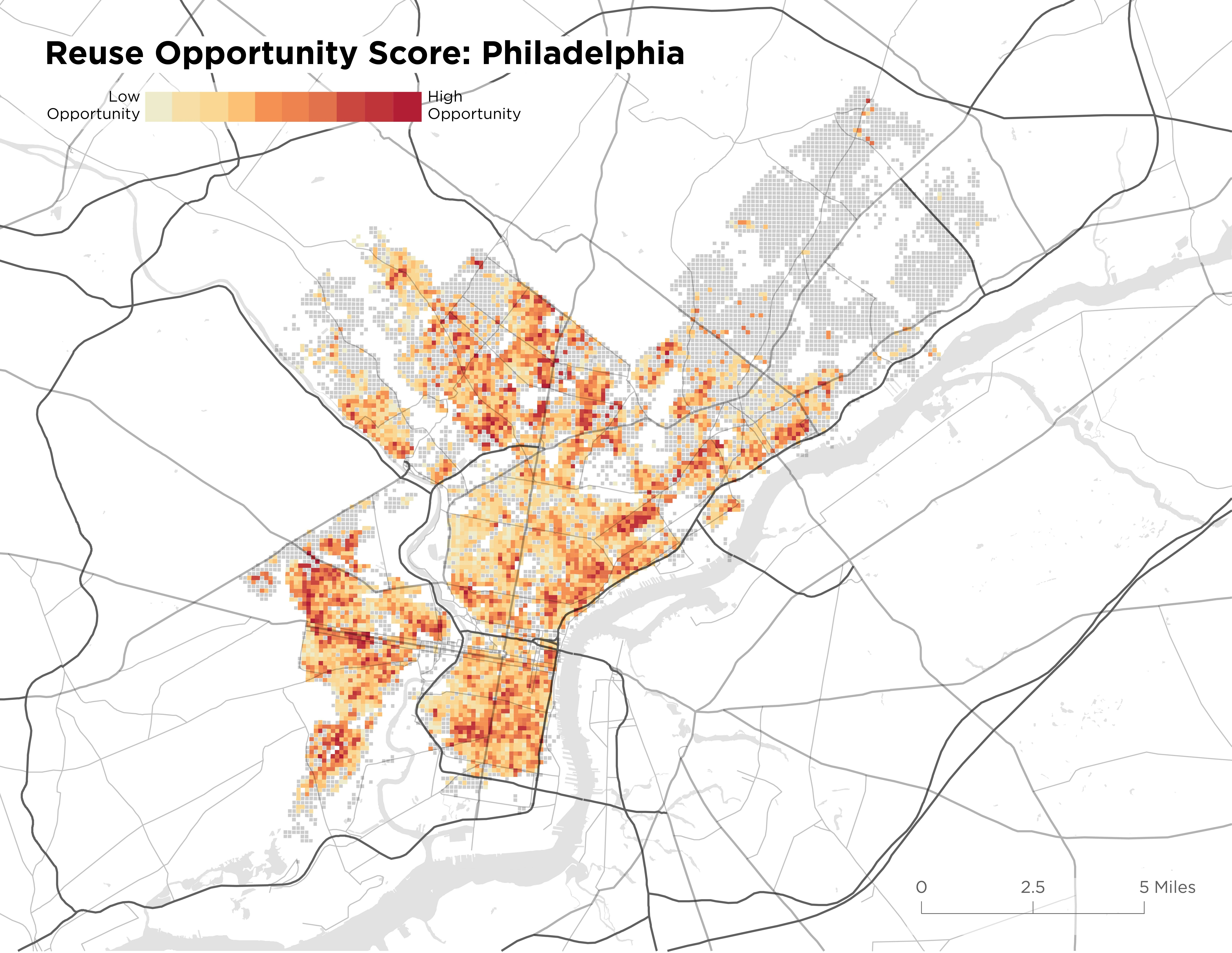 8e6be4243045f0 FIG. 6  Map of reuse opportunity modeling for Philadelphia. Red areas show  greatest opportunity for building reuse