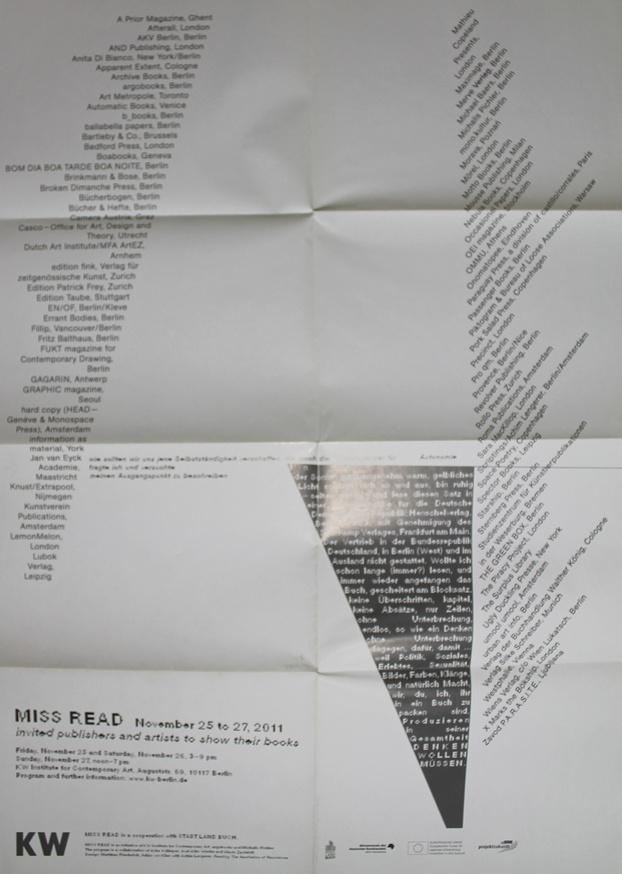 MISS READ : The 2011 Berlin Art Book Fair Poster