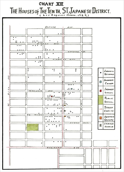 "FIG. 4: Map of Uptown, a Japanese American enclave, 1927. From Koyoshi Uono, ""The Factors Affecting the Geographical Aggregation and Dispersion of the Japanese Residents in the City of Los Angeles"" (master's thesis, University of Southern California, 1927), 130."