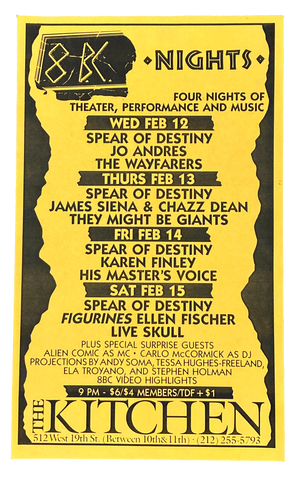 8BC Nights, Four Nights of Theater, Performance and Music, February 12-15, 1986 [The Kitchen Posters]