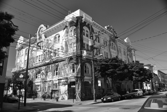 FIG. 4: The Women's Building, San Francisco, 2018. For forty years, the Women's Building has illustrated an intersectional model of community organizing among women, LGBTQ people, immigrants, workers, people with disabilities, and others. With support from the National Park Service, Donna Graves nominated it to the National Register of Historic Places in 2017. Photograph by Bruce Reinhart.