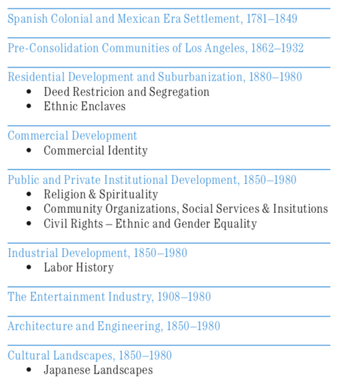 FIG. 1: The nine contexts that make up the Los Angeles Historic Context, with representative themes that inform the ethnic and cultural contexts.