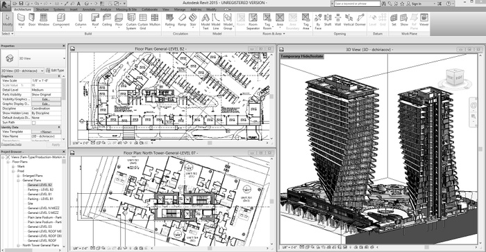 Screenshot of Autodesk Revit image-model and simulated orthography.
