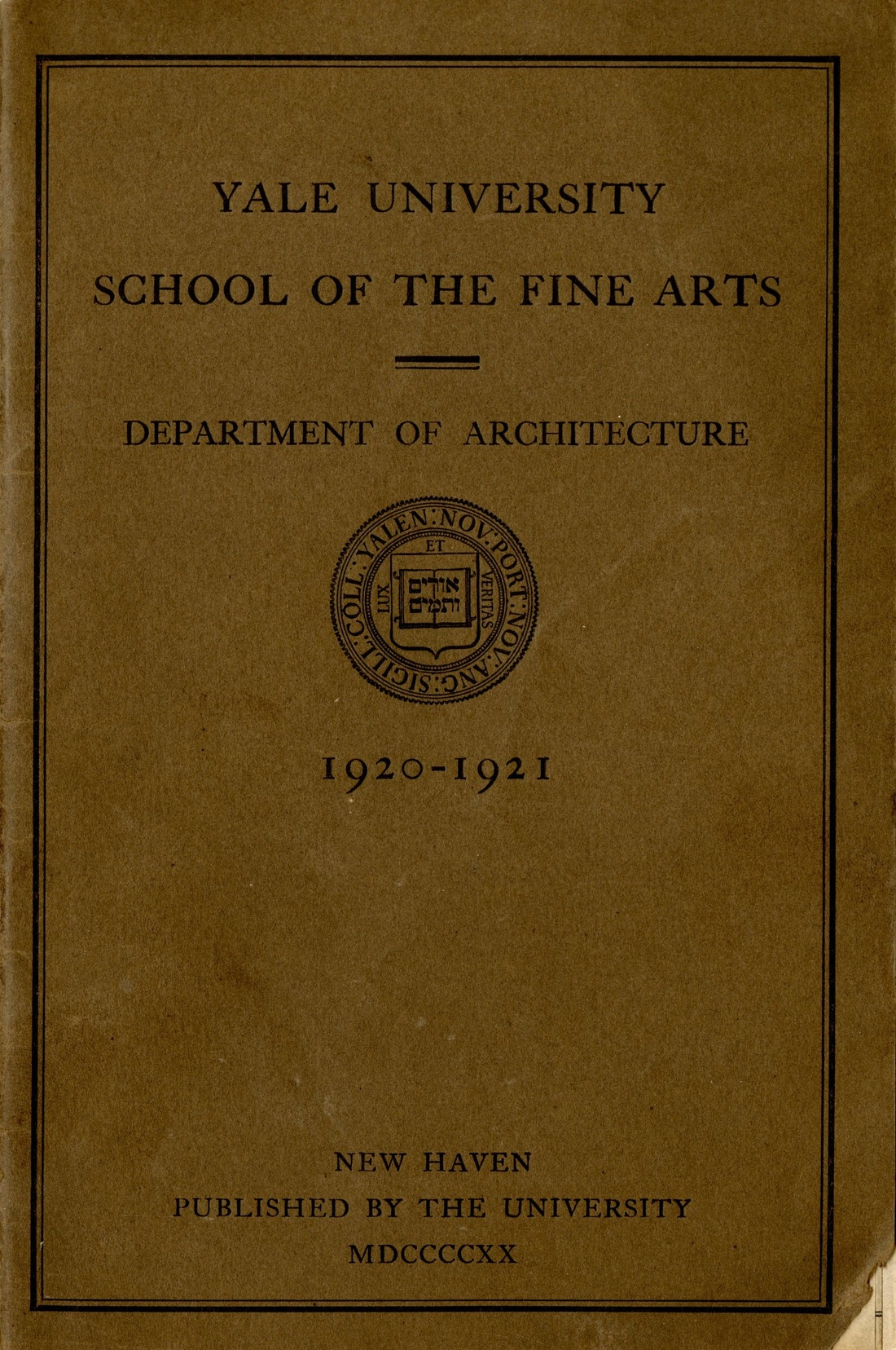 Cover of School Bulletin from 1920