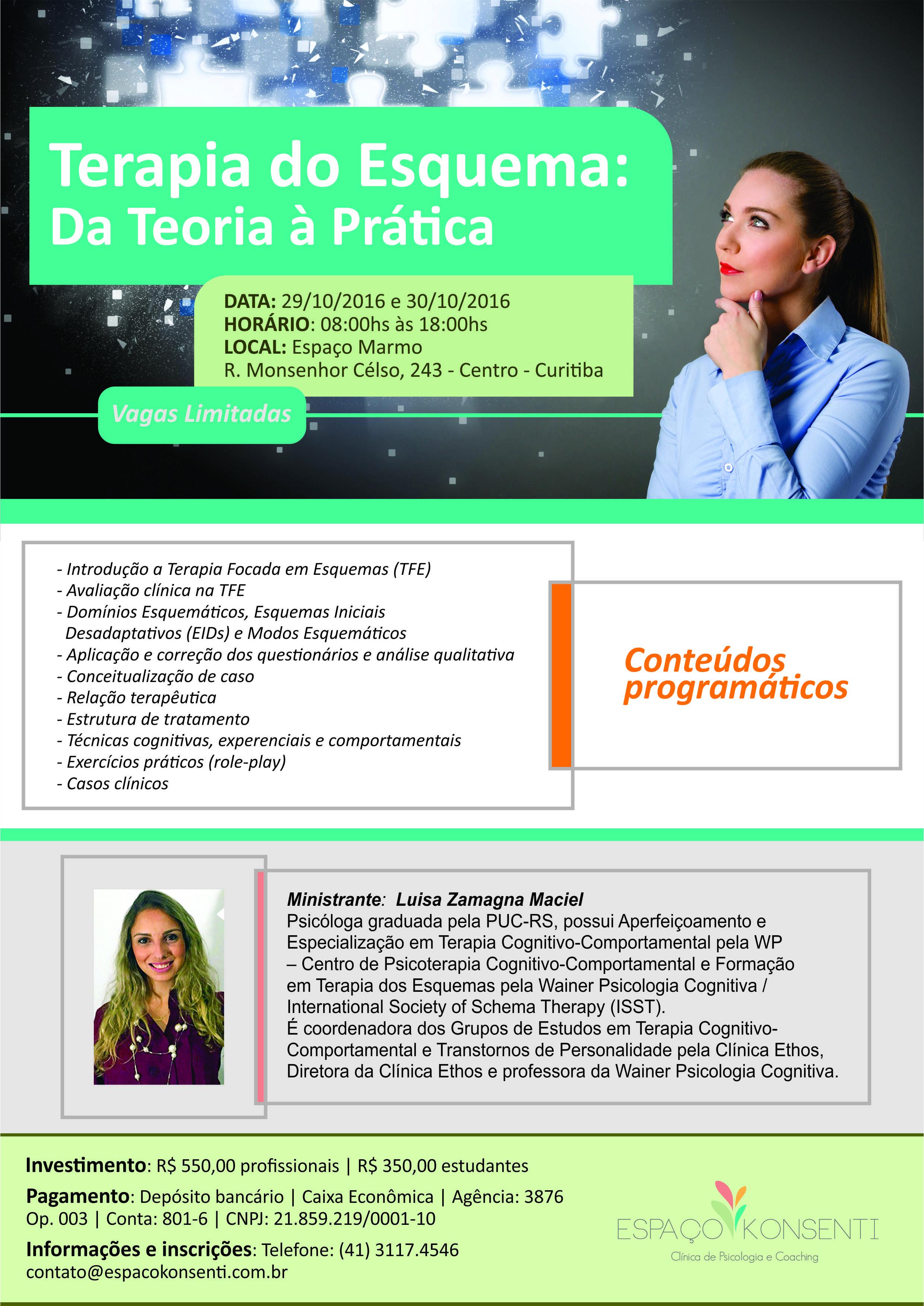 """Workshop """"Terapia do Esquema: da teoria à prática"""""""