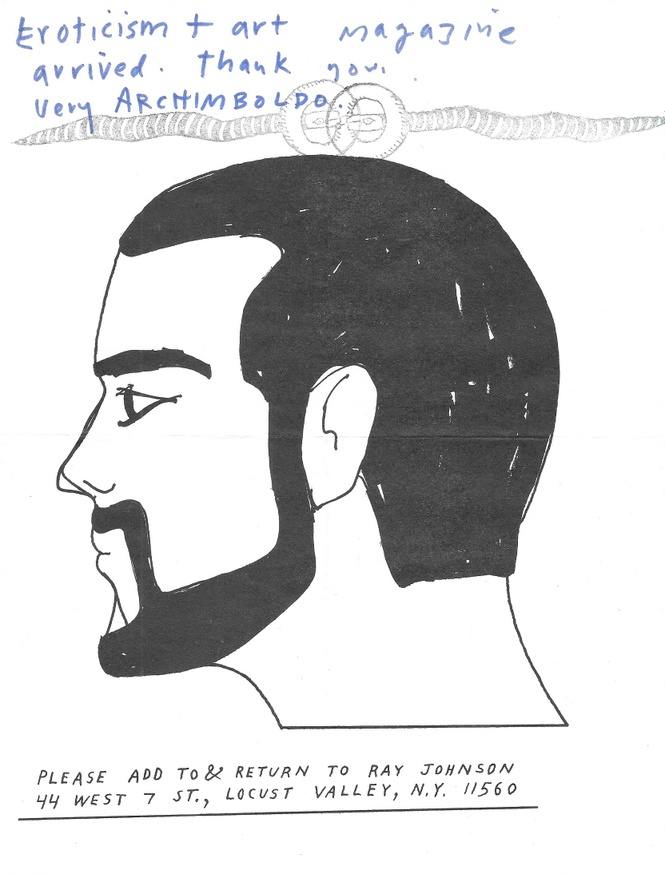 Untitled [Silhoutte Drawing with Beard / Shelley Duval Fan Club / BLUME RUBBER BAND] thumbnail 3