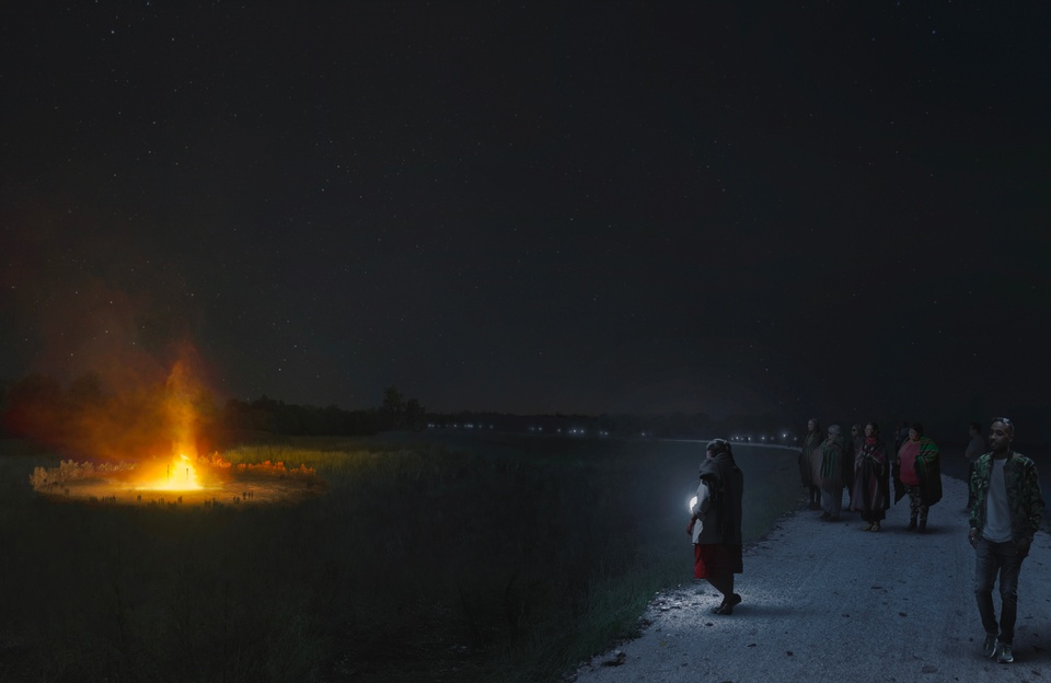 Rendering showing a group of people on a path looking at a fire in a field at night.